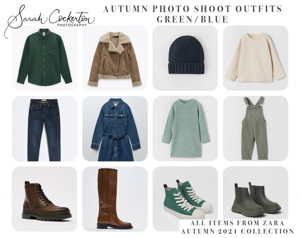 Autumn Photo Shoot Outfit Inspiration for the whole family - Blue/Green Colour Palette