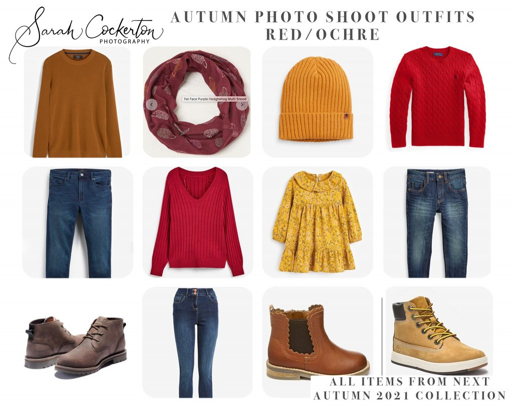Autumn Photo Shoot Outfit Inspiration - Red and Ochre Colour Palette - NEXT